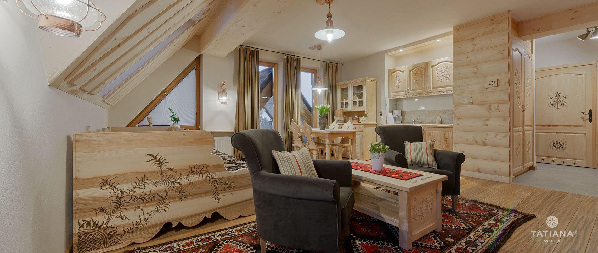 Apartament Lux 16- salon wraz z aneksem kuchennym