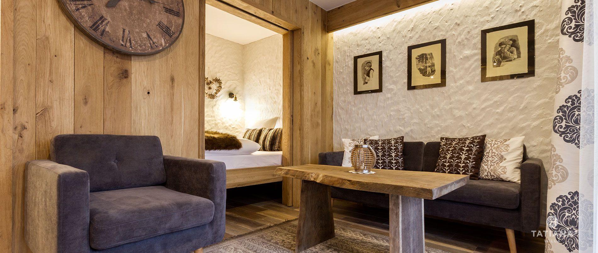 Apartament Stary Dębowy - salon wraz z drugą sypialnią