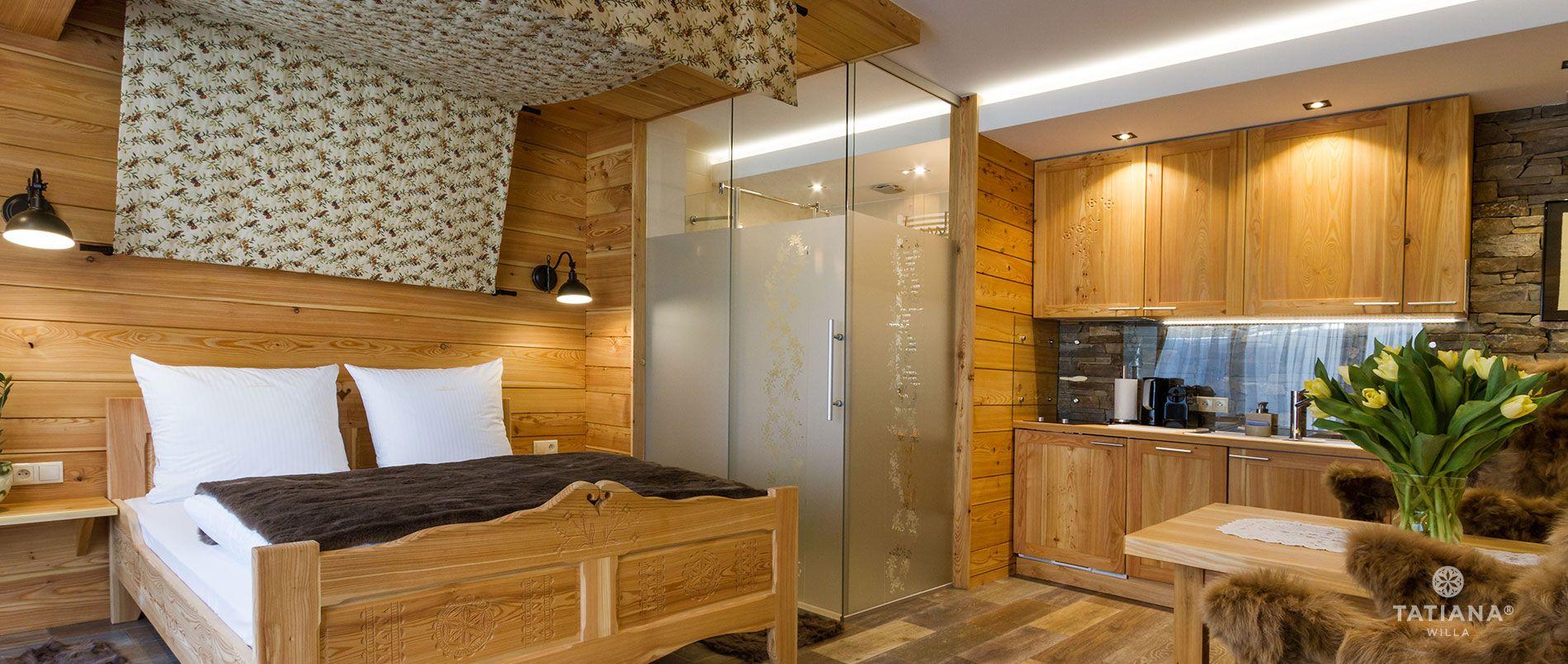 Apartament Modrzewiowy- aneks kuchenny, salon