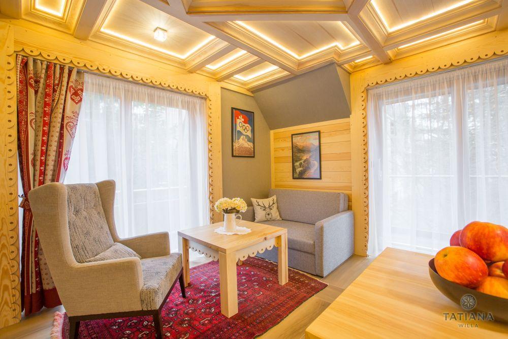 Apartament Alpejski Willa Tatiana folk drewniany pokój