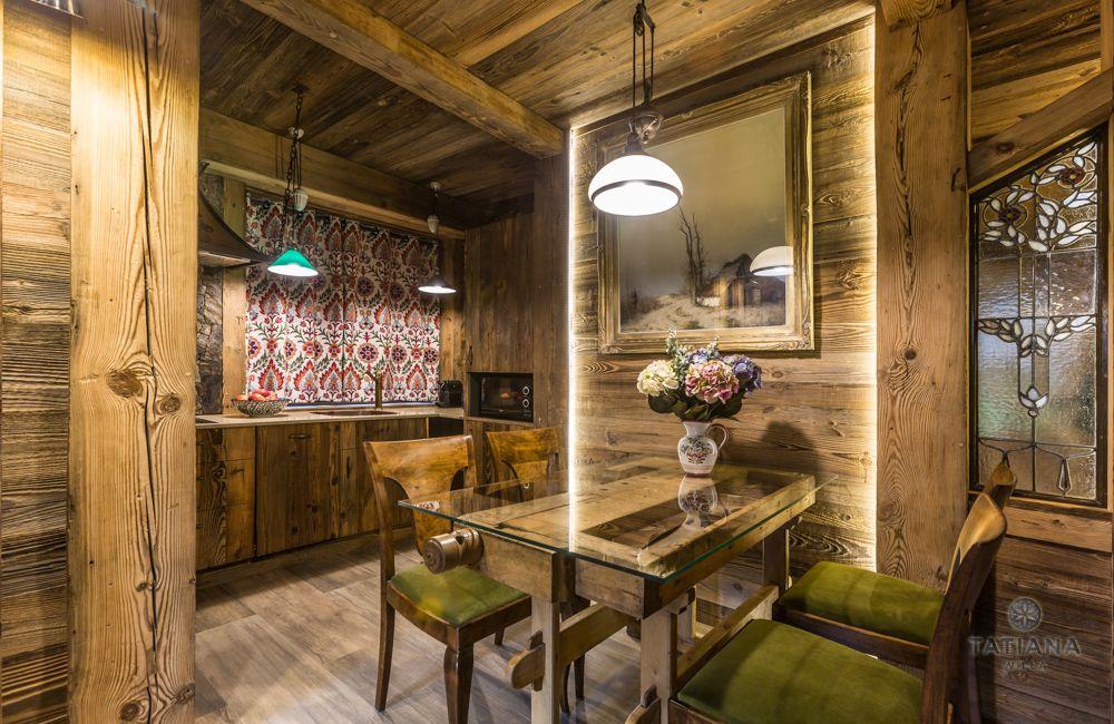 Apartament Karpacki Willa Tatiana folk drewniana jadalnia
