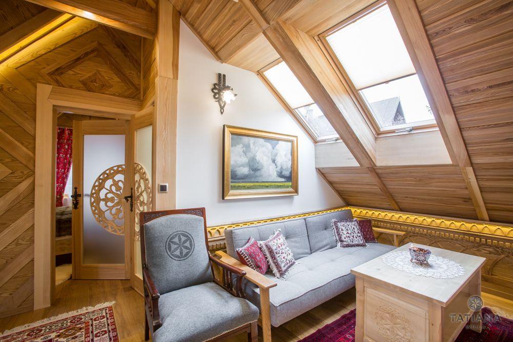 Apartament Tatrzański Willa Tatiana folk pokój z akcentem drewnianym