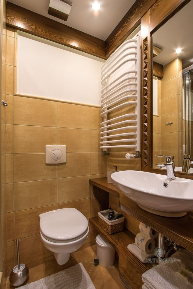 Apartament 4 Tatiana Premium Zakopane łazienka z akcentem drewnianym