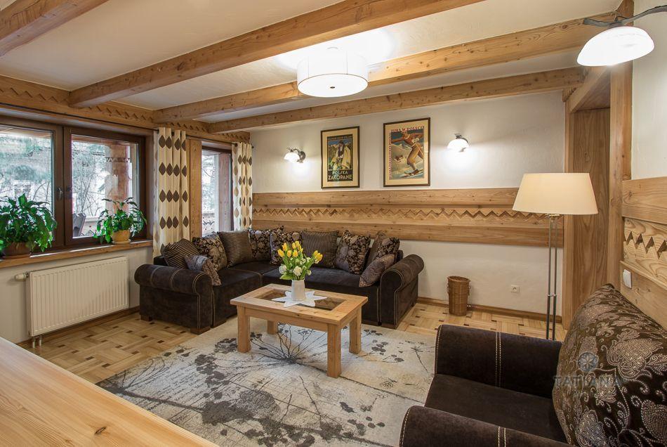 Apartament 7 Tatiana Premium Zakopane salon z akcentem drewnianym