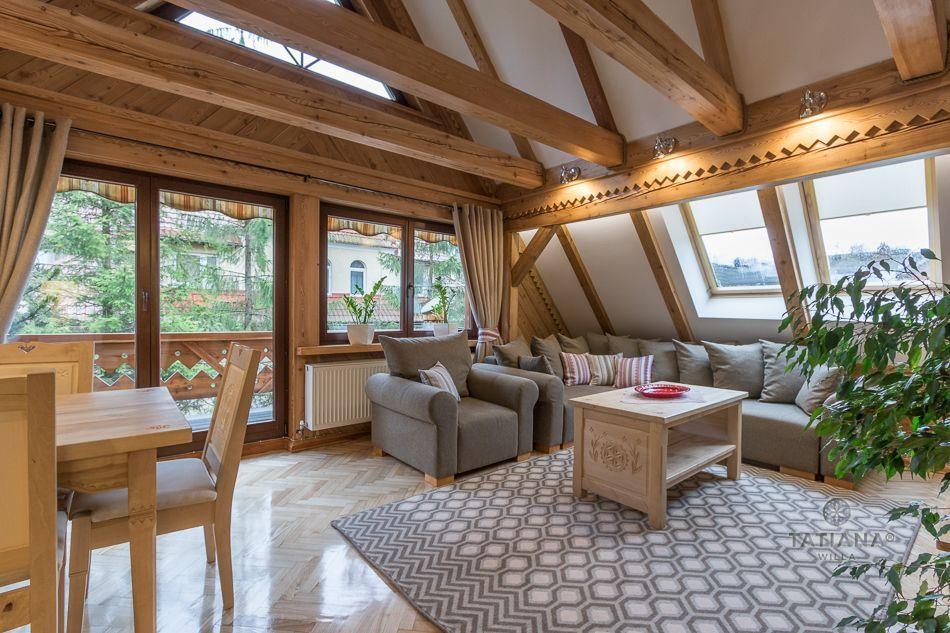 Apartament 9 Tatiana Premium Zakopane drewniany salon