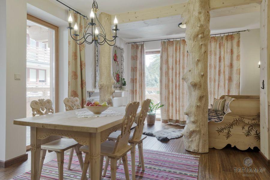 Apartament 11 Willa Tatiana II Zakopane drewniany salon