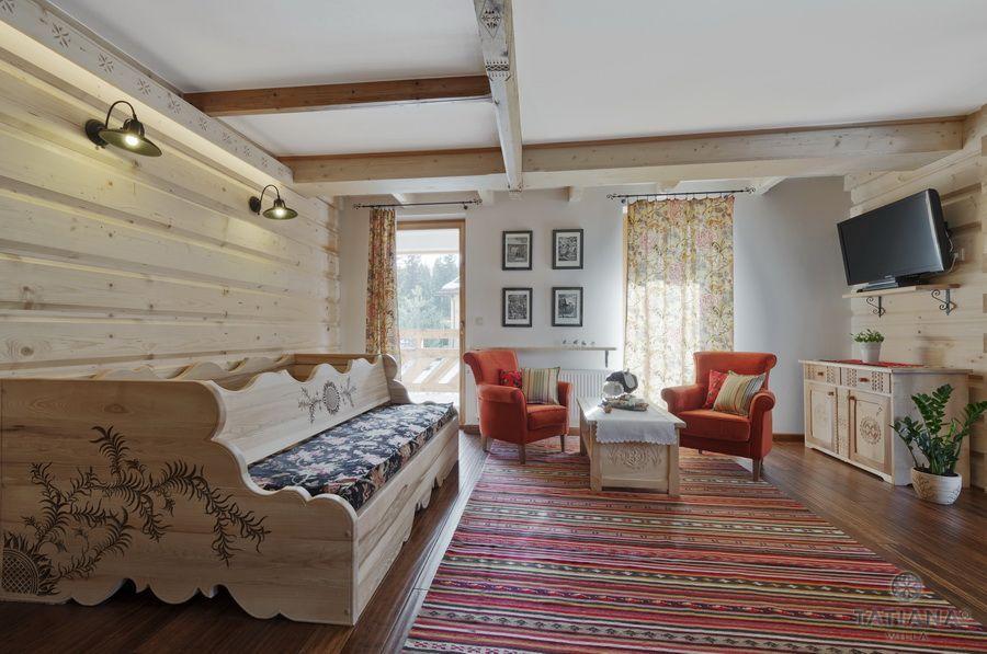 Apartament 12 Willa Tatiana II Zakopane drewniany salon