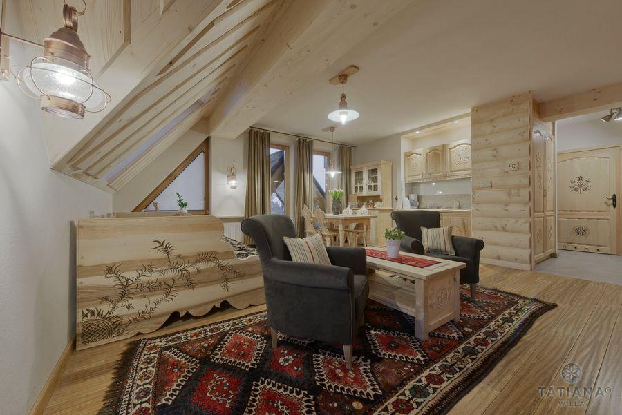Apartament 16 Willa Tatiana II Zakopane drewniany salon