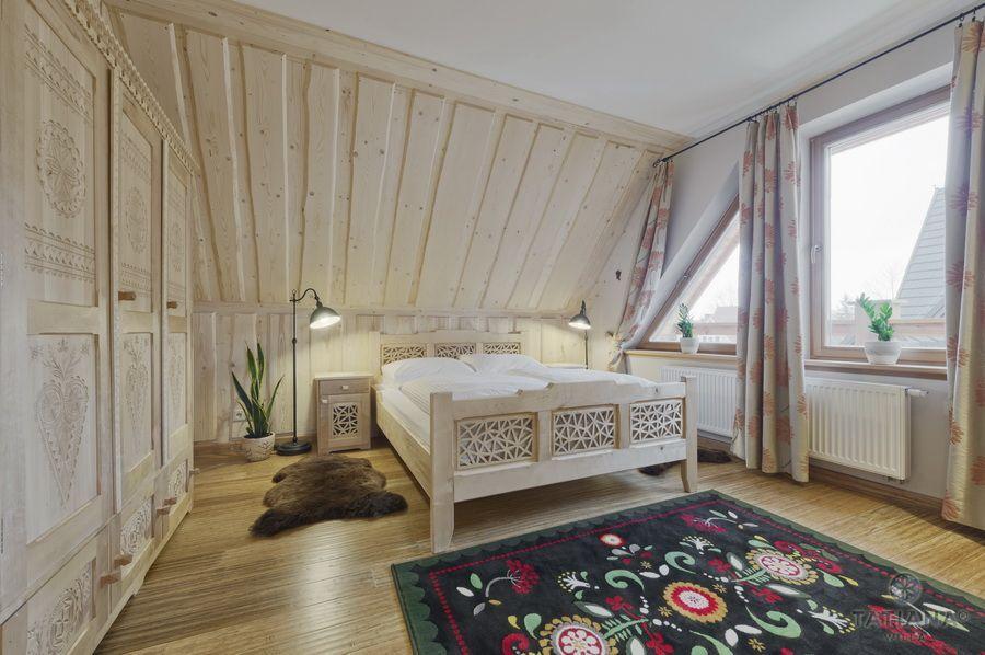 Apartament 17 Willa Tatiana lux Zakopane sypialnia z akcentem góralskim